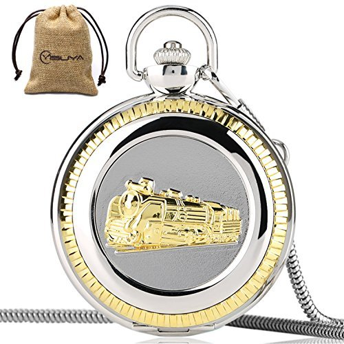 Vintage Train Railroad Conductor's Locomotive Quartz Pocket Watch Roman Numberal with Chain for $<!--$13.99-->