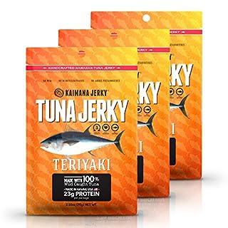 Kaimana Wild-Caught Ahi Tuna Jerky - Teriyaki   Rich in Omega-3s & High in Protein   All-Natural & Organic Fish Jerky (3 pack, 2 oz)