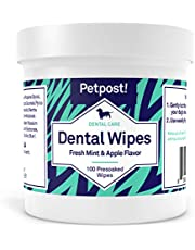 Petpost | Dental Wipes for Dogs - Bad Breath, Plaque and Tooth Decay Gone - 100 Presoaked Pads in Natural Tooth Cleaning Solution (Fresh Mint & Apple, 100 ct.)