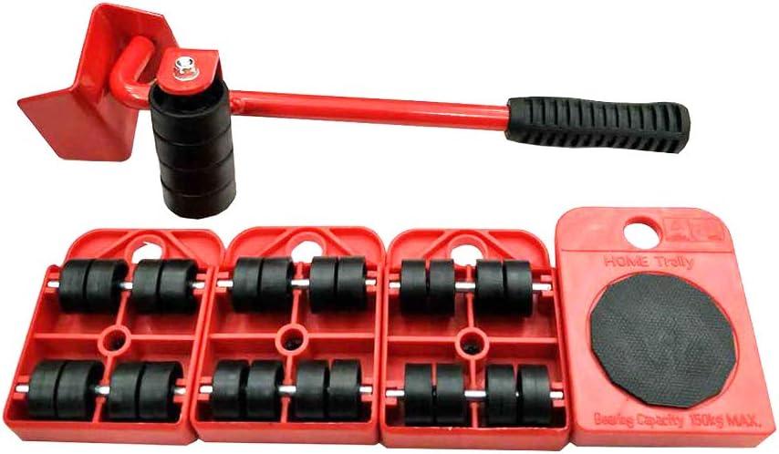 amarillo Kit de deslizamiento para levantar y mover carros dom/ésticos de muebles pesados Kit de transporte de 4 rodillos y elevador de muebles
