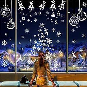 EDOTON Vetrofanie Fiocchi di Neve per Natale della Vetro Finestra Vetrina Natale Decorazione Vacanza Nuovi Anni Inverno Adesivi Statici in PVC 6 Fogli 2 spesavip