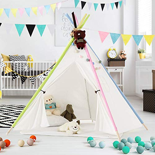 LITTLE TREE Kids Teepee Tent, Children Play Tent with Floor Mat, Portable Canvas Indian Teepee with Ventilated Window for Indoor and Outdoor, Girls & Boys (Five Side)