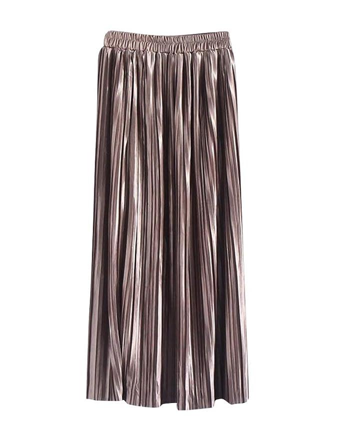 24c9cc0b42 Women's Long Skirt High Waist Thin Solid Color Metallic Luster Fashion  Pleated Skirt Apricot: Amazon.co.uk: Clothing