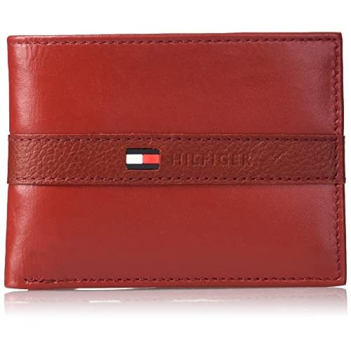 Tommy Hilfiger Men's Thin Sleek Casual Bifold Wallet with 6 Credit Card Pockets and Removable Id Window