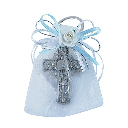 First Communion Keychain Party Favor Boy (12PCS) Key Ring with Decorated Organza Bags with Blue Ribbons/Recuerdos de Primera Comunion Niño/Gift for Guests (Sil/Wht) -