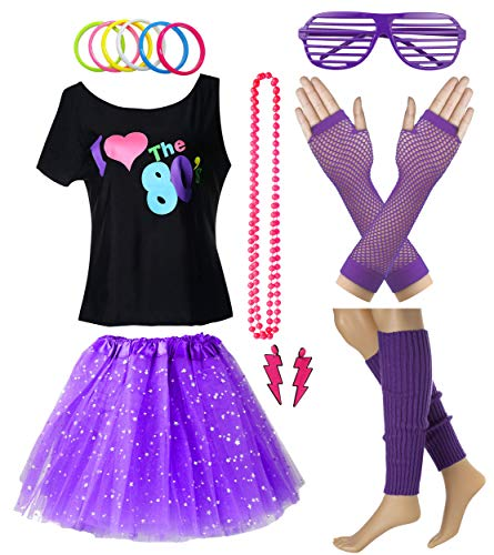 Pop Star Outfit (Women I Love The 80's T-Shirt with Star Sequin Tutu Skirt Plus Size Costume Outfit Accessory (L/XL,)