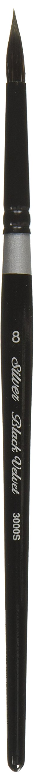 Silver Brush 3000S-8 Black Velvet Short Handle Blend Squirrel and Risslon Brush, Round, Size 8