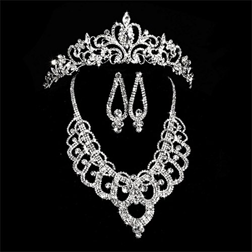 Wedding Pearl Crown Tiara Flower Rhinestone Crystal Neckalce and Earrings Jewelry Sets for Bridal (2#)