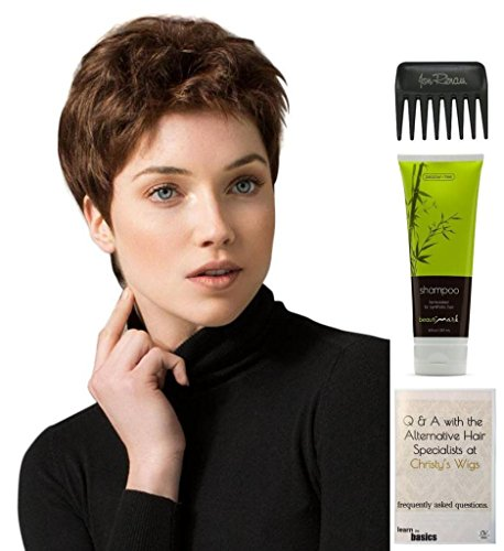 Bundle - 4 Items: Risk Wig By Ellen WIlle, Christy's Wigs Q & A Booklet, BeautiMark Synthetic Shampoo & Wide Tooth Comb - Color: silver mix by Ellen Wille & Christy's Wigs