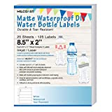 "Milcoast Matte Waterproof Tear Resistant DIY Water Bottle Labels 8.5"" x 2"" for Inkjet/Laser Printers - 25 Sheets"