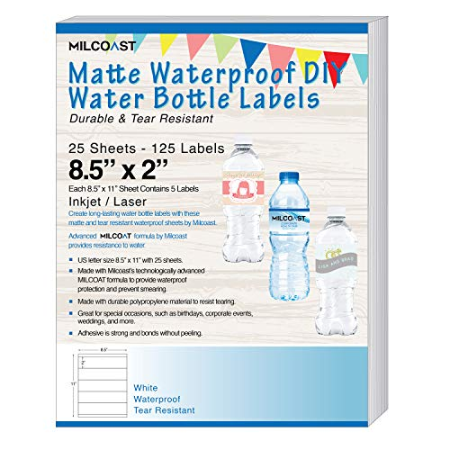 Milcoast Matte Waterproof Tear Resistant DIY Water Bottle Labels 8.5