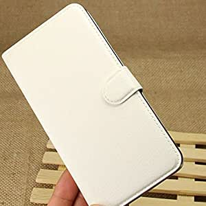 Beautiful-tech Lychee Texture Wallet Folio Stand Leather Case Cover with Free LCD Screen Protective for HTC Desire 816 - White