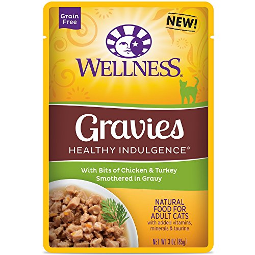 Wellness Healthy Indulgence Natural Grain Free Wet Cat Food, Gravies Chicken & Turkey, 3-Ounce Pouch (Pack of 24) (Canned Wellness Cat Food compare prices)