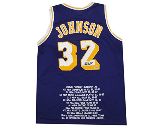 Magic Johnson Hand Signed Autograph Away Lakers Basketball Jersey w/Stats PSA by Cardboard Legends Online