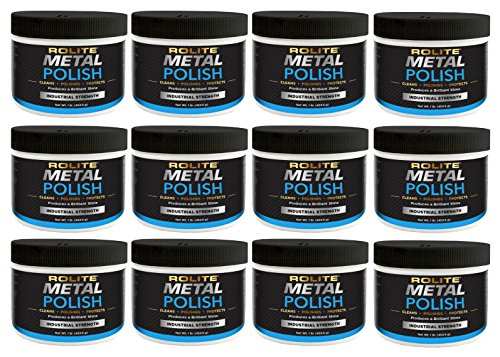 Rolite - RMP1#12PK Metal Polish Paste - Industrial Strength Scratch Remover and Cleaner, Polishing Cream for Aluminum, Chrome, Stainless Steel and Other Metals, Non-Toxic Formula, 1 Pound, 12 Pack