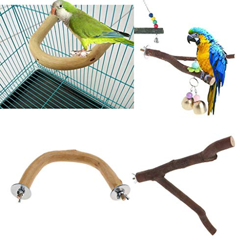 Agordo 2X Pet Bird Perch Nature Wooden Stand Toys Branch for Parrots Cages Toy