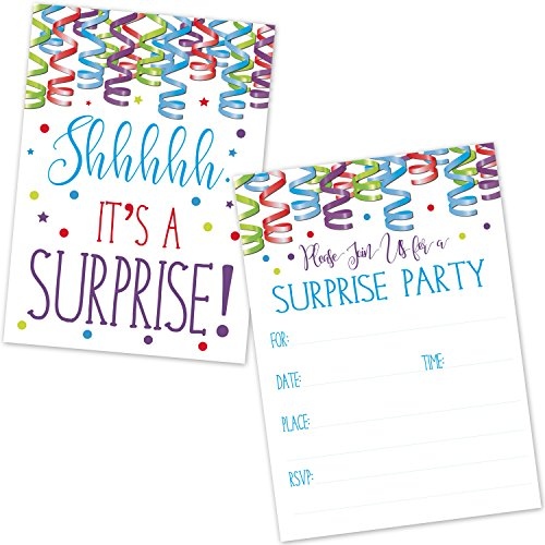Surprise Birthday Party Invitations for Kids and Adults - Colorful Confetti and Streamers Design (20 Count with Envelopes) -