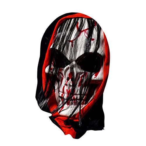 YYF Halloween Party Costume Creepy Scary Grim Reaper Head Mask with Hair Decorations