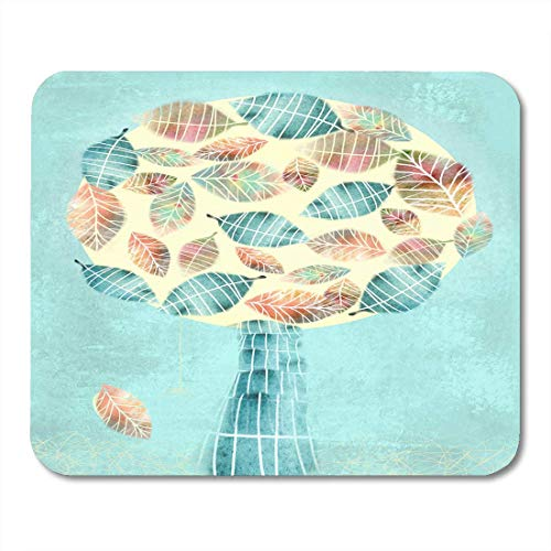 Mouse Pads Red Brown Fall Autumn Abstract Tree with Falling Leaf White for You Design Topiary Orange Autumnal Beauty Mouse Pad for Notebooks,Desktop Computers Office Supplies 9.8x11.8 inch