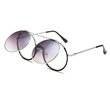 a9db2c911c2 Meijunter Retro Flip Up Round Steampunk Sunglasses Circle Lens Metal Frame