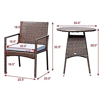 Tangkula 3 Piece Patio Furniture Set Wicker Rattan Outdoor Patio Conversation Set with 2 Cushioned Chairs End Table Backyard Garden Lawn Chat Set Chill Time Modern Outdoor Furniture Brown