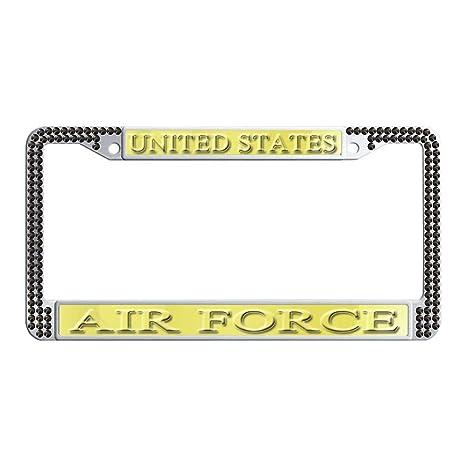 Amazon.com  DIY Finest 14 Facets SS20 Clear License Plate Frame black  Rhinestone Crystal U.S Air force  Automotive 3a8fb6149d