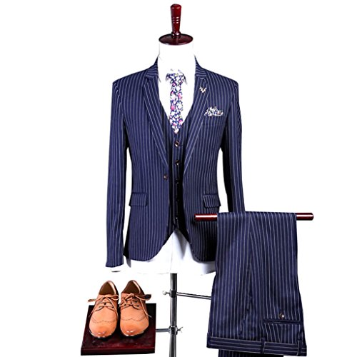 Mens Blue with White Pinstriped Suit 3 Pieces Single Breated Classic-Fit Blazer Waistcoat Vest Pants