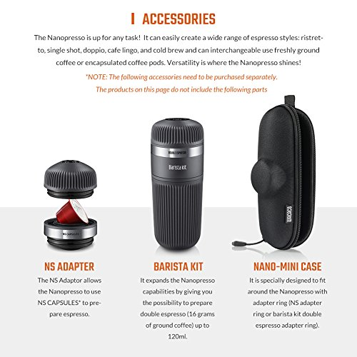 WACACO Nanopresso Portable Espresso Maker, Upgrade Version of Minipresso, Extra Small Travel Coffee Maker, Manually Operated. Perfect for Camping, Travel, Kitchen and Office by WACACO (Image #6)