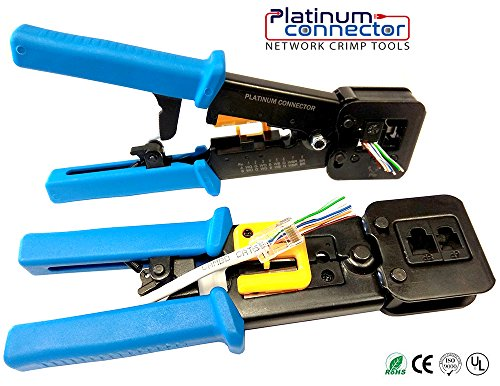 RJ45 Professional Heavy Duty Crimp Tool by Platinum Connector for pass through and legacy - Equipment Data Termination