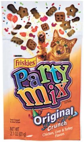 Friskies Crunchy Party Mix Pouch Cat Treats Quantity Case of 10, Flavor Original