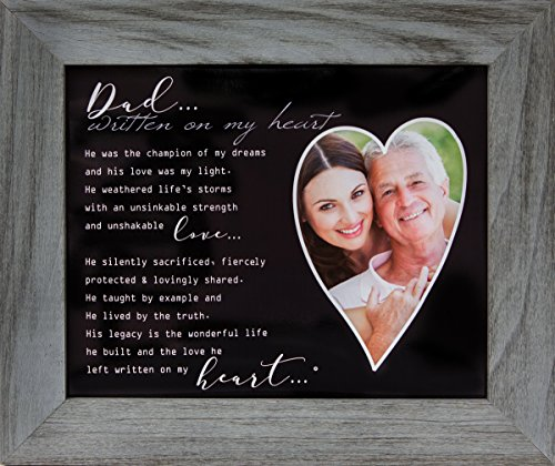 Written on my Heart Distressed Gray Memorial/Remembrance/Bereavement/Sympathy Photo Frame, Dad