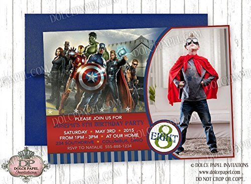 10 VINTAGE AVENGERS Inspired Custom Photo Red and Blue Birthday Party (Avengers Custom Invitations)