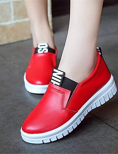 Zq plataforma us8 semicuero Cn39 negro White Eu35 Uk3 Gyht mocasines Casual us5 De Uk6 Cn34 Red Blanco Zapatos creepers Mujer exterior Eu39 Rojo rIFxr4