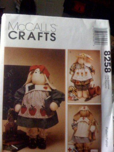 McCalls Crafts Pattern #8258 Gardner, Nurse, Teacher (Rabbit Doll Pattern)