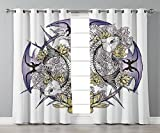 iPrint Stylish Window Curtains,Skull Decorations,Pisces Fish with Lotus Flowers Traditional Eastern Symbolic Religious,Yellow Purple,2 Panel Set Window Drapes,for Living Room Bedroom Kitchen Cafe