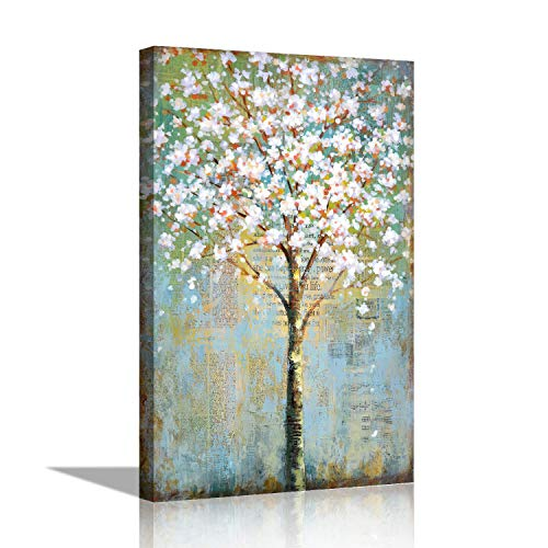 Abstract Cherry Tree Wall Art Vintage Painting on Canvas Hand Painted Embellishment Contemporary Wall Decor (16x24 inch, Gallery ()