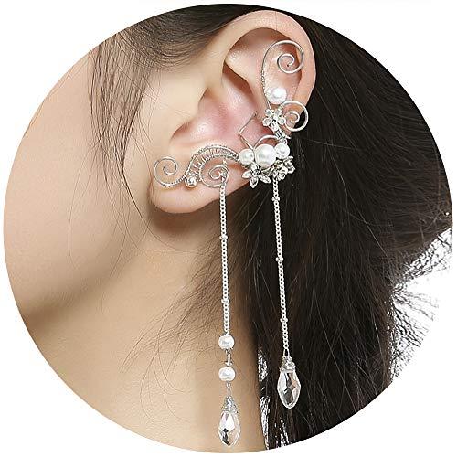 Aifeer Elf Elven Ear Cuffs, Non-Pierced Filigree Wrap Earrings Ear Cuffs for Women Bridal Wedding Handcraft Flowers Jewelry Threader Tassel Chain (White)