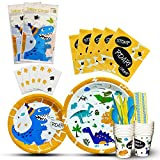 WERNNSAI Dinosaur Tableware Set - Party Supplies for Boys Kids Birthday Baby Shower Includes Cutlery Bag Table Cover Plates Cups Napkins Straws Utensils Serves 16 Guests 146 PCS