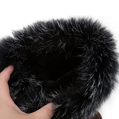 Faux Women Fur Boots Black Flat Warm Mid Fashion Calf COOLCEPT xHUIqdw1q