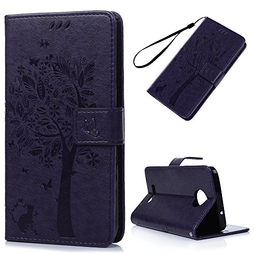 KASOS Moto Z Case Wallet, Embossed Lovely Tree Butterfly Cat Magnetic Front Closure Durable PU Leather Wallet Soft TPU Inner Shell Kickstand Feature Card Holders Cash Slots & Hand Strap Cover - Purple (Plastic Tree Cell)