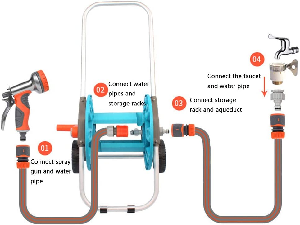 ,20M Hose Reel Cart Trolley with Hose,Water Pipe Car Roll with 9 Function Spray Nozzle,Garden Hose Set for Garden Yard Water Plant Blue Portable Free Standing Hose Reel Holder