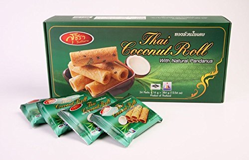 Thai Coconut Roll- Crispy Coconut Rolls with Natural Pandanus 6.76oz.