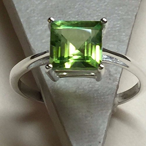 Natural Princess Cut 1.5ct Apple Green Peridot 925 Solid Sterling Silver Solitaire Ring sz 8 ()