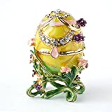 Hand-Painted Flowery Faberge Egg with Rich Enamel and Sparkling Rhinestones Jewelry Trinket Box