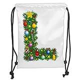 Custom Printed Drawstring Sack Backpacks Bags,Letter L,Pine Tree Design Majuscule L with Christmas Symbols Festivities Celebration Image Decorative,MulticolorSoft Satin,5 Liter Capacity,Adjustable St