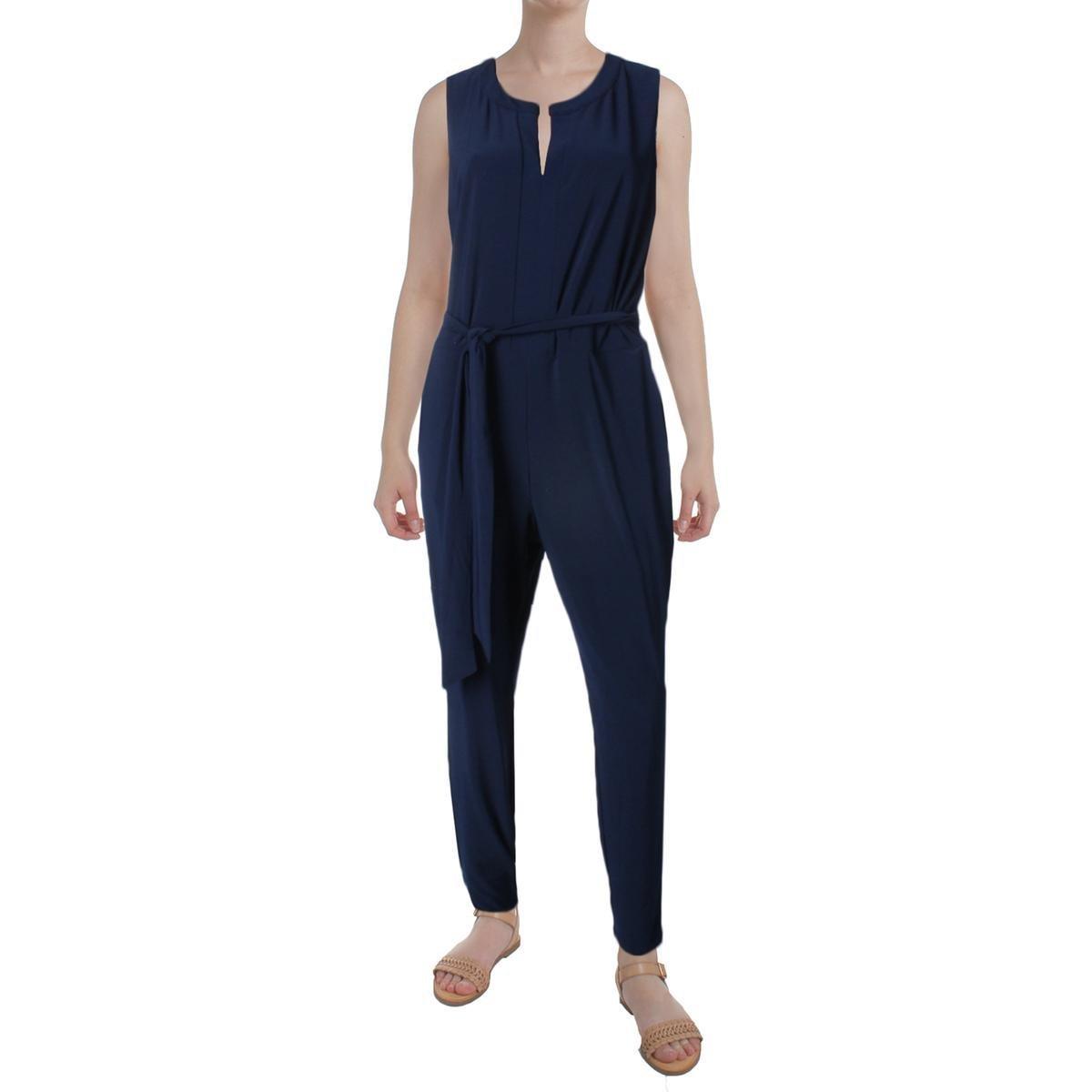Lauren Ralph Lauren Womens Nadalia Sleeveless Split Neck Jumpsuit Navy XS