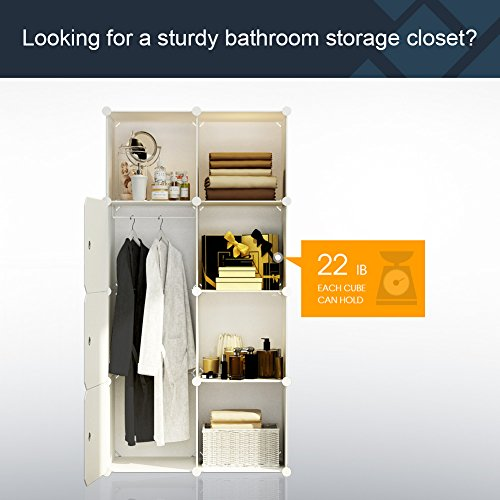 KOUSI Portable Wardrobe Closet for Bedroom Clothes Armoire Dresser Cube Storage Organizer, 5 Cubes&1 Hanging Sections