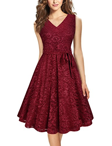 Furnex Swing Dress, Girls Elegant Burgundy Lace Dress For Dating Dinner V Neck A Line Prom Party Sexy Lace Dresses For Women With Side Zip (Small Wine)