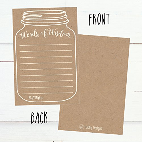 50 Rustic Mason Jar Words of Wisdom Advice Cards, Use As Graduation Advice Cards, Marriage or Wedding Advice Cards, Bridal or Baby Shower Party Games, Boy or Girl Baby Prediction or Advice Cards Photo #4