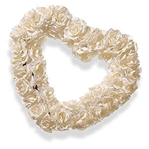 National Tree Company 17 in. White Rose Heart Wreath 89